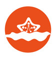 starfish in water icon vector image vector image
