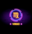 the virgo zodiac symbol in neon style on a wall vector image