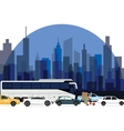 traffic jam around town cars bus and motorcycle vector image vector image