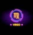 virgo zodiac symbol in neon style on a wall vector image