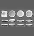 white realistic plates porcelain household vector image vector image