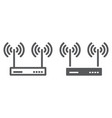 wifi router line and glyph icon electronic vector image vector image