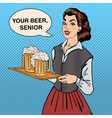 Waitress with Beer Woman Holding a Tray with Glass vector image