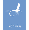 Fly-fishing on blue background vector image