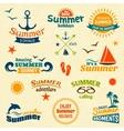 Summer element label set vector image