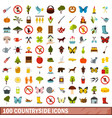 100 countryside icons set flat style vector image vector image