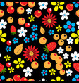 abstract seamless pattern with berries leaves and vector image