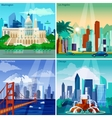 American Cityscapes Concept Icons Set vector image vector image