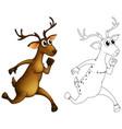animal outline for deer running vector image vector image