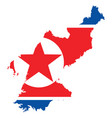 background of north korea map and flag vector image vector image