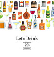 background with alcoholic drinks in glasses vector image vector image