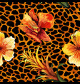 beautiful blooming flower on animal skin leopard vector image