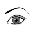 black and white outline of a female eye vector image