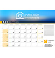 calendar for april 2019 design print template vector image