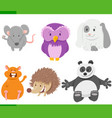 cartoon animal characters collection set vector image