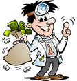 Cartoon of a happy doctor holding a moneybag
