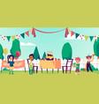 children birthday backyard party with kids flat