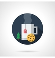 Christmas tea round flat color icon vector image vector image