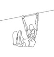 continuous line athlete hanging on horizontal bar vector image