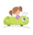 cute little girl riding caterpillar car happy kid vector image vector image