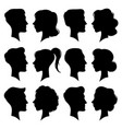 female and male faces silhouettes in vintage cameo vector image