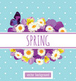 floral card template with sample text on the white vector image vector image