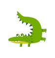funny cartoon crocodile character friendly vector image