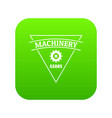 gear machinery icon green vector image vector image