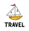 hand draw boat icon in doodle style for your vector image vector image