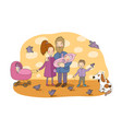 happy family with newborns mom dad and kids vector image vector image
