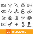 india icons collection vector image vector image