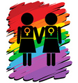 Lesbians with rainbow background vector image vector image