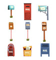 mail boxes set vintage postbox cartoon vector image