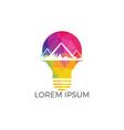 mountain inside light bulb logo design vector image vector image