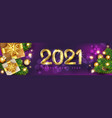 new year banner with golden numbers 2021 vector image