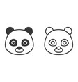 panda outline and silhouette icon vector image vector image