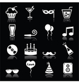 Party icons set - birthday New Years Christmas vector image vector image