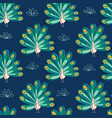 peacock seamless pattern birds on blue vector image vector image