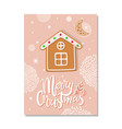 pink postcard merry christmas with cookies vector image vector image