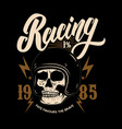racing emblem template with biker skull design vector image vector image