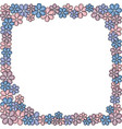 rectangular frame with flowers pink blue maroon vector image
