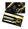 scissors and comb golden business card vector image vector image
