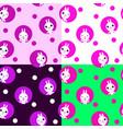 seamless pattern with kawaii rabbits easter vector image