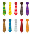 set of multicolored ties with different patterns vector image vector image
