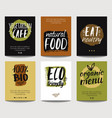 set with eco friendly and organic food templates vector image vector image