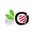 Sushi logo design badge for restaurants of vector image