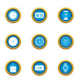 time is running icons set flat style vector image