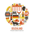 travel concept germany landmark flat icons design vector image