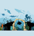 underwater wildlife coral reef with fish and vector image