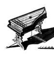 vintage engraving a vintage piano vector image vector image